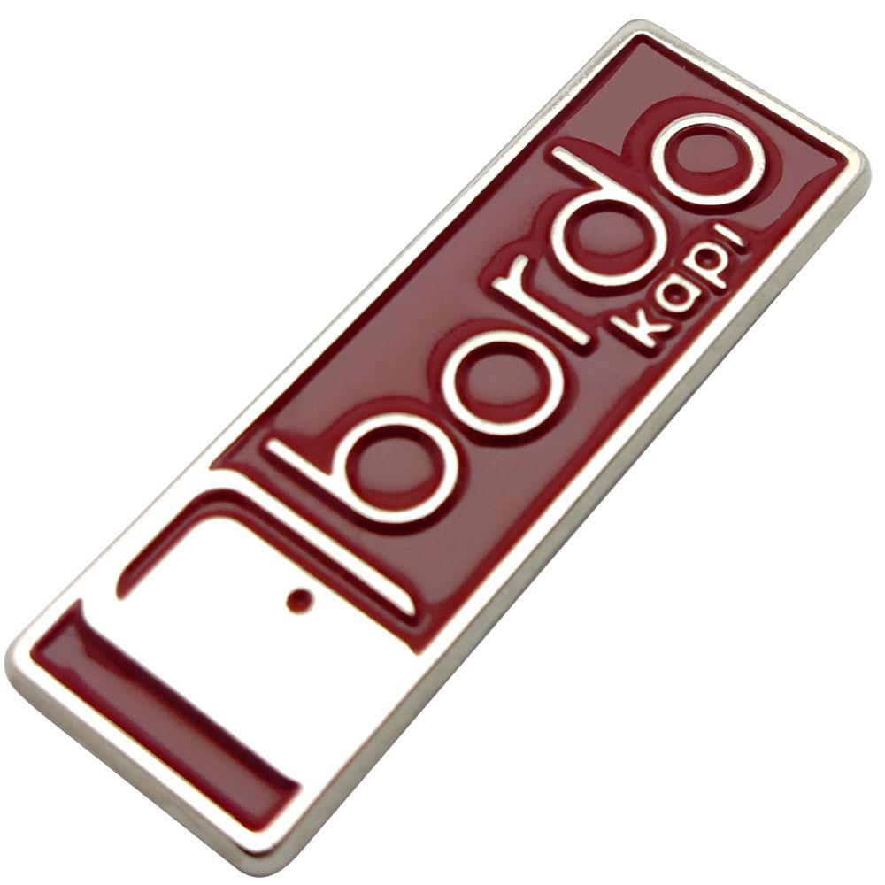 Bordo Çelik Kapı Metal Döküm Etiket