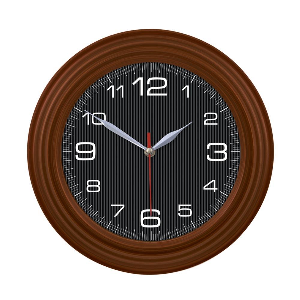 1041 - Wood Color Black Dial Wall Clock