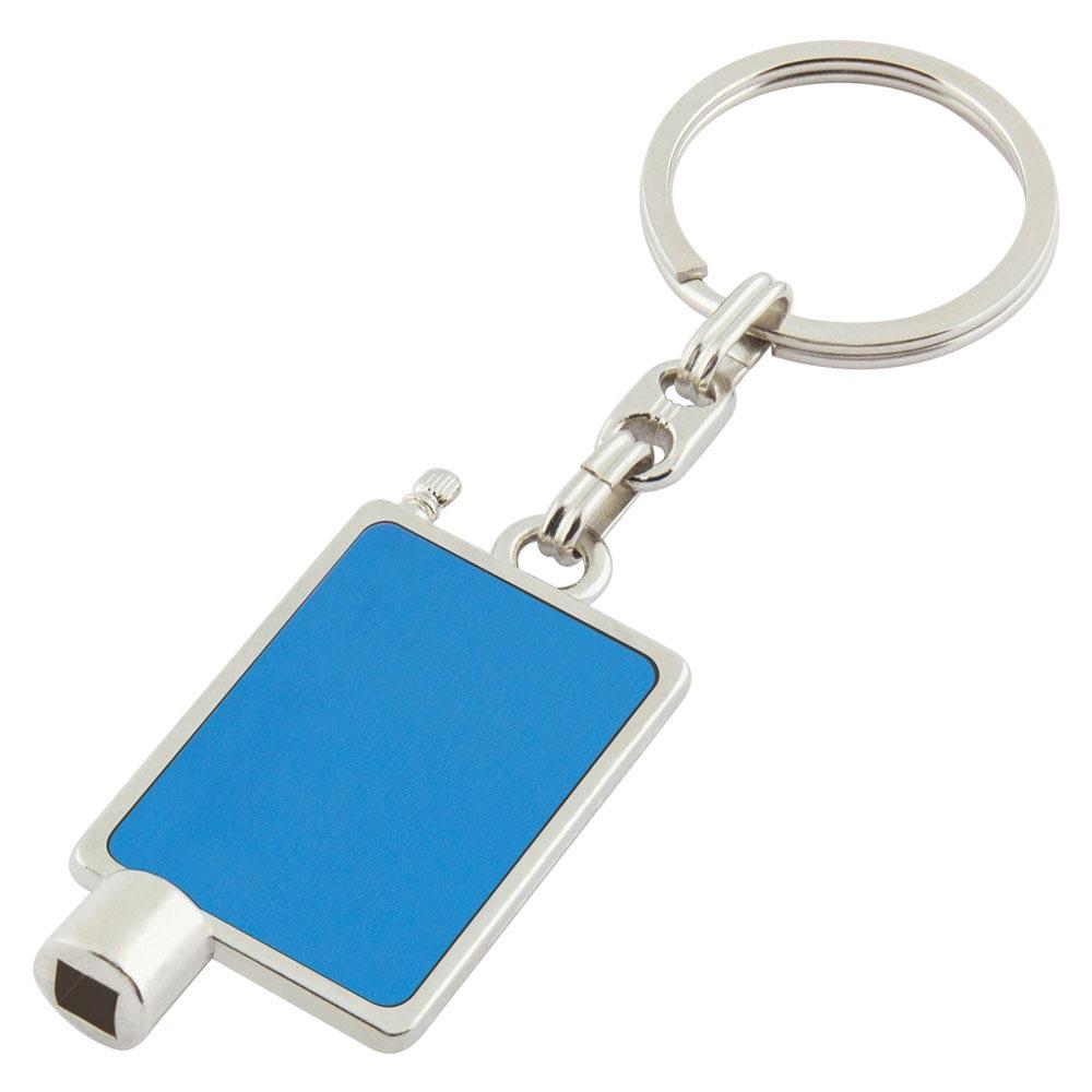 P-12 MM Radiator Keychain Blue Metal Label