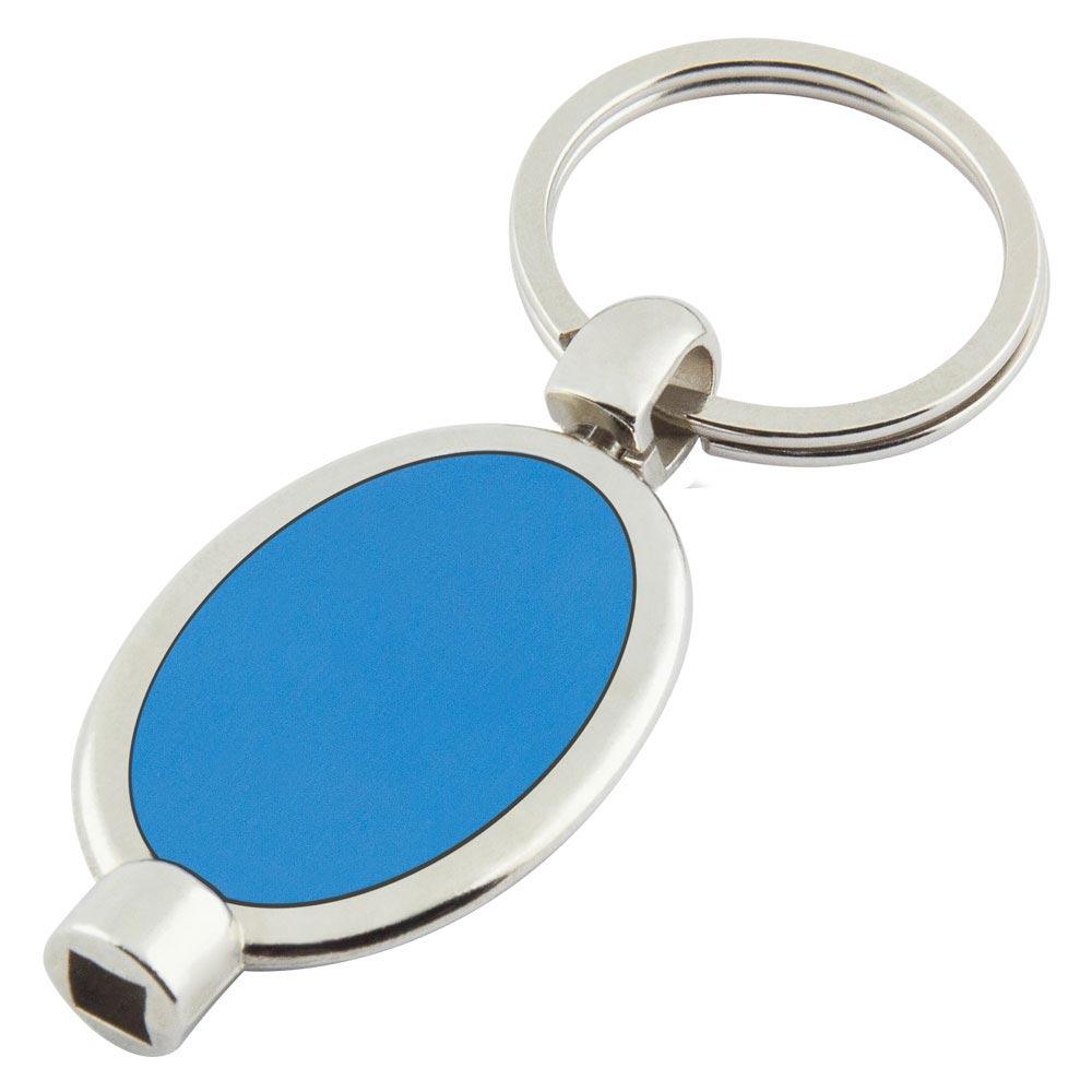 P-13 MM Oval Purjör Anahtarlık Mavi Metal Etiketli