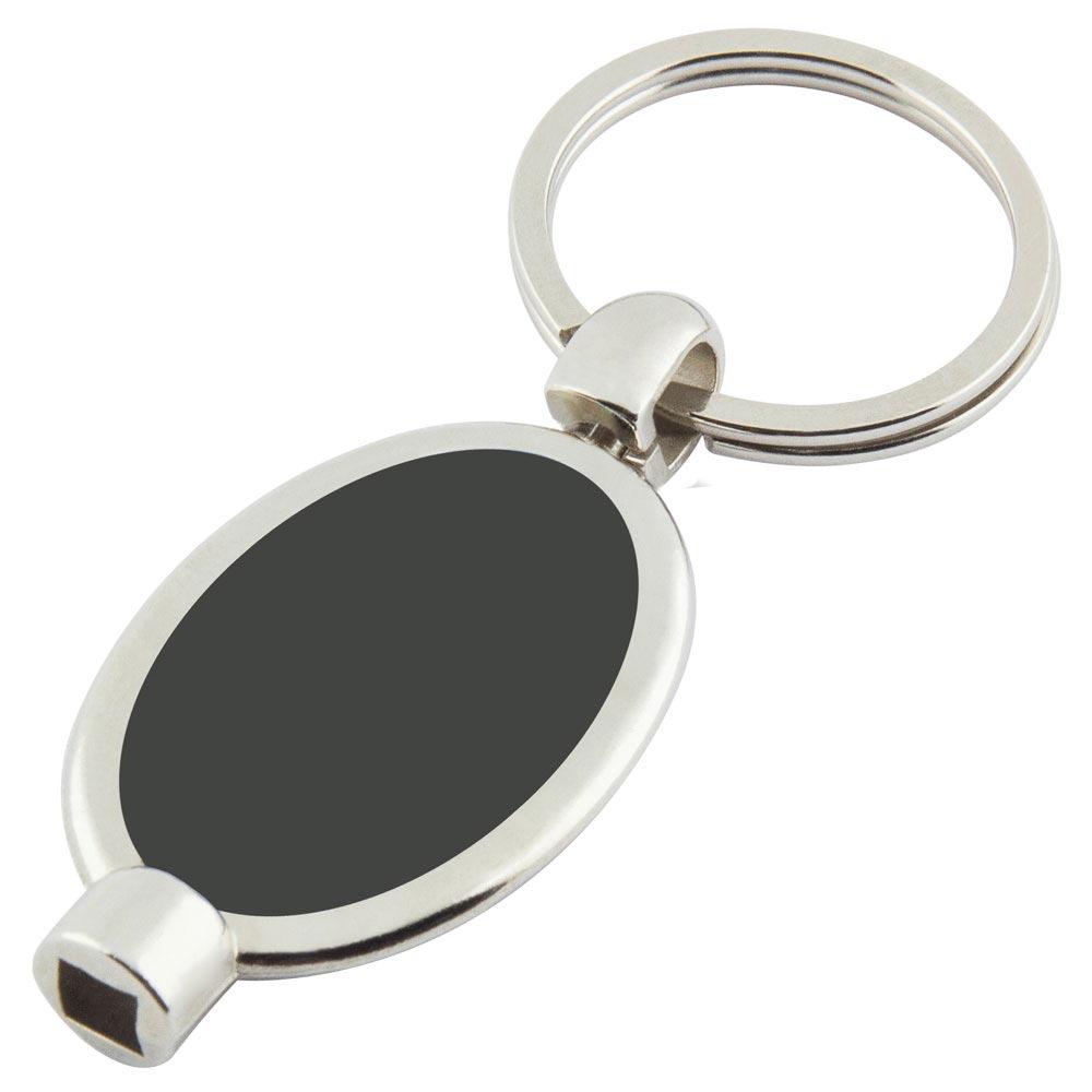 P-13 MS Oval Purjör Anahtarlık Siyah Metal Etiketli